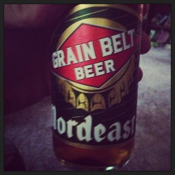 Grain Belt beer, a Midwestern experience I'd never had before. Pretty good.