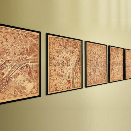 Antique Paris City Maps Set, 5 Paris Street Plans, Art Prints
