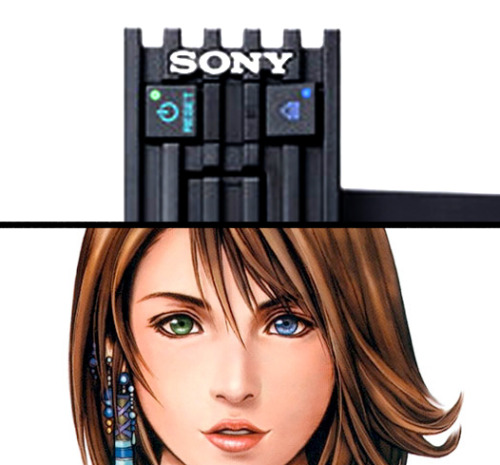 When Final Fantasy X came out, at some point I noticed Yuna's eye colors match the power/eject buttons on the PS2. So whenever I was playing with the lights out I imagined her creepy glowing eyes staring back at me.