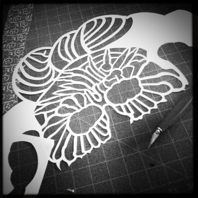 WIP hand cut paper mask for NIGHT PAPER shoot in 2 weeks!