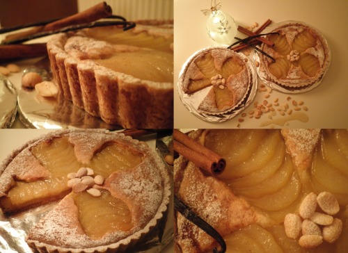 Tarte Bourdaloue It's time for a French classic! The Tarte Bourdaloue. I am in the French mood right now because I am heading to Paris this week. It is quite simple to make this tart and so delicious. Creamy and rich frangipane, soft poached pears and a crispy crust, what is not to love about that? The pears are poached in a mixture of white wine, water, vanilla, cinnamon and star anise. I left the pears in this syrup for a day. This will make the pears taste even better! The leftover poaching liquid is reduced until I got a thick syrup. The water will evaporate but the all the delicious flavours will stay and intensify. I used this syrup to brush the tarts after baking.  I will serve the Tarte Bourdaloue with a sabayon made with the pear syrup. Merry Christmas everyone!