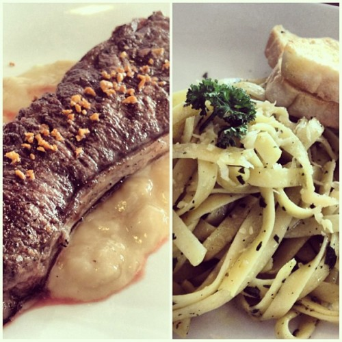 Steak and pasta on Mothers' Day. 🍴