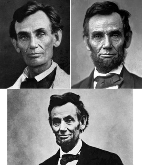 Abraham Lincoln over the course of about six years.The first picture is just before he ran for President—he did not grow his beard until a month before he was elected. The second picture is while he served as President, and the third picture is how he looked shortly before he was assassinated.Lincoln was President for a little over four years.I guess freeing the slaves and saving the greatest nation on Earth really takes a lot out of a man, huh?Damn.