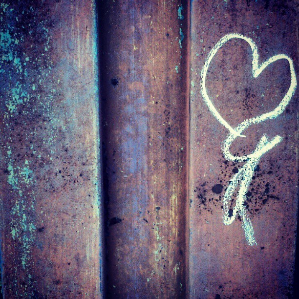 #metal #rust #rustneversleeps #old #decay #derelict #urban #city #heart #chalk #gate #handdraw