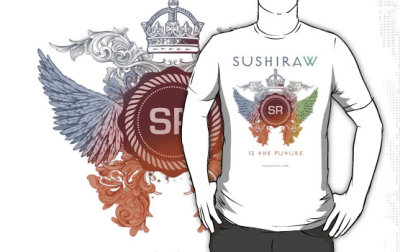 "SUSHIRAW IS THE FUTURE T-SHIRTS available @ shadawear.com (via ""SUSHIRAW IS THE FUTURE (color)"" T-Shirts & Hoodies by kaysha 