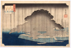 "iamjapanese:  UTAGAWA Hiroshige(ICHIRYUSAI Hiroshige, 歌川 広重 Japanese, 1797-1858) Evening Rain at Karasaki    唐崎夜雨 1834? the finest design from the set: Omi hakkei no uchi, ""Eight Views in Omi Province."" The series of eight prints was published by Hoeido and Eikyudo, c. 1834-5. When first published it was advertised as a ""work in black and white, lightly coloured, "" and Hiroshige was never to surpass the ethereal quality that these figureless landscapes possess. The theme ""Eight Views"" was borrowed from Chinese poetry and each print conveys pictorially the poem written in the square label at the top right. Beside it, in a red label, is the series title. …..via"