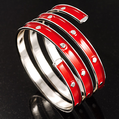 Red warped enamel wide bracelet