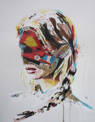 booooooom:  Mixed media paintings by Sandra Chevrier.