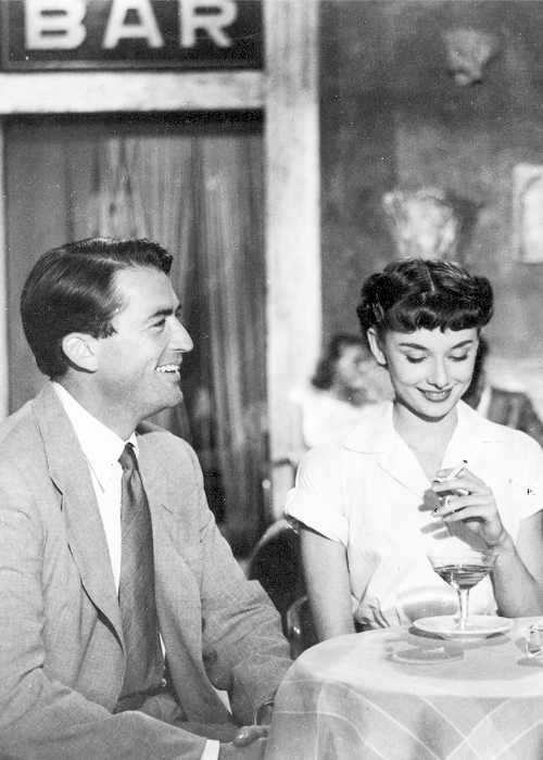 msmildred:  Gregory Peck and Audrey Hepburn in 'Roman Holiday', 1953.