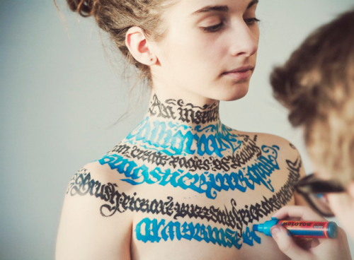 typethatilike:  Calligraphy on girls nfgraphics.com - (NSFW)