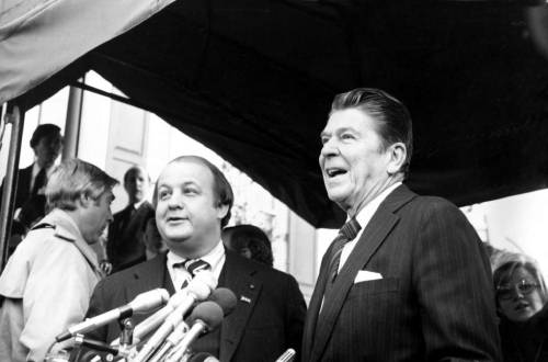 Former White House spokesman James Brady, whogave his name to a gun-control lawandfounded the Brady Campaign after surviving a gunshot wound to the head during the 1981 assassination attempt on President Ronald Reagan, has died at age 73. Above, you can see him being introduced as Reagan's press secretary in 1981, less than three months before the assassination attempt. Photo:Zeboxski / Associated Press