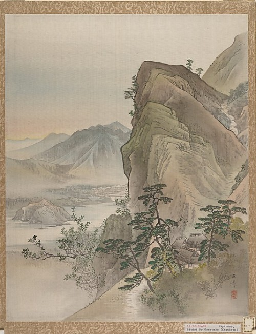 Landscape, Kawabata Gyokusho. Album leaf; ink and color on silk.