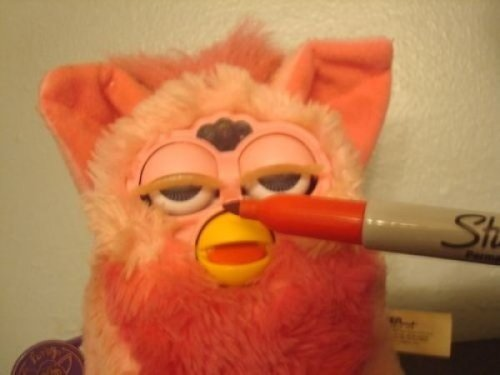 Furby Getting High Off of Sharpie Pen I can't feel my nonexistent hands.