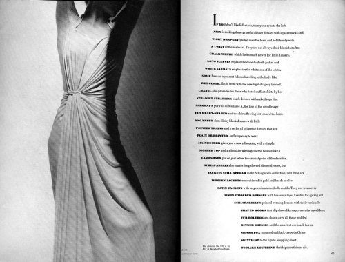 "benbattaglia:  Alexey Brodovitch - a Russian photographer, designer and instructor, most famous for his art direction of fashion magazine Harper's Bazaar from 1938 to 1958.   Vince frost says that he is inspired by creatives with a real understanding of problems, problem solving and are able to ""eliminate all the crap"" to make something simple. These spreads use large images as the basis for the entire layout. The text often follows the curves, angles and contours of the image, and with a good understanding of composition in photography Brodovitch is able to create a similar feeling from the white space in his design. Photography is definitely an aspect which can accentuate the design massively."
