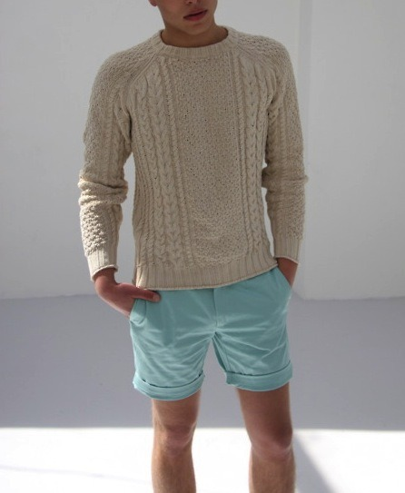 great sweater + shorts combo