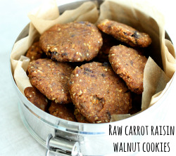 "mika-sama:  yummyrawfood:   Raw, Vegan Carrot Raisin Walnut Cookies    Ingredients   1 cup soaked and dehydrated buckwheat 1/4 - 1/2 tsp sea salt (adjust to taste) 1/2 tsp cinnamon 3 tbsp flax meal 1 1/2 cups carrot pulp OR grated carrot (if you use grated carrot, squeeze with paper towels tightly to remove excess moisture) 3/4 cup tightly packed pitted dates 1/3 cup water + extra as needed 1/2 cup walnuts 1/2 cup raisins  Instructions  Grind the buckwheat in a food processor fitted with an S blade till coarsely ground. Add the salt, cinnamon, and flax and grind till very finely ground.Add the carrot and dates and pulse to combine. Keep processing till mixture is smooth. Add water as needed, till the mixture is mushy and even but not ""wet"" (you should be able to shape it into small, firm cookies that will hold their shape).Pulse in the walnuts and raisins. Place cookies on mesh-lined dehydrator sheets and dehydrate at 115 for four hours or so. Flip them over, and continue dehydrating for another four hours, or until firm but not dried through.   I really want to make these. YUM!"