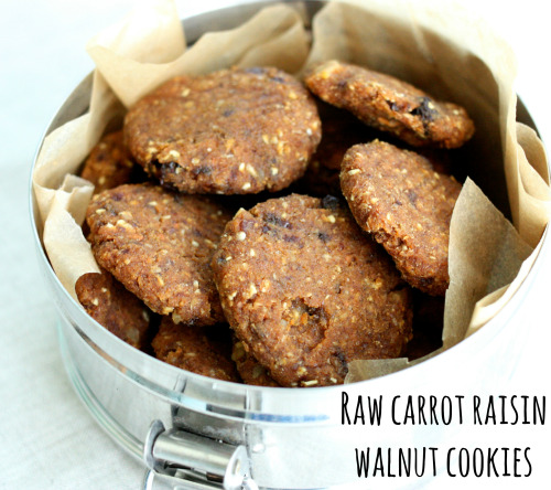 "Raw, Vegan Carrot Raisin Walnut Cookies    Ingredients   1 cup soaked and dehydrated buckwheat 1/4 - 1/2 tsp sea salt (adjust to taste) 1/2 tsp cinnamon 3 tbsp flax meal 1 1/2 cups carrot pulp OR grated carrot (if you use grated carrot, squeeze with paper towels tightly to remove excess moisture) 3/4 cup tightly packed pitted dates 1/3 cup water + extra as needed 1/2 cup walnuts 1/2 cup raisins  Instructions Grind the buckwheat in a food processor fitted with an S blade till coarsely ground. Add the salt, cinnamon, and flax and grind till very finely ground.Add the carrot and dates and pulse to combine. Keep processing till mixture is smooth. Add water as needed, till the mixture is mushy and even but not ""wet"" (you should be able to shape it into small, firm cookies that will hold their shape).Pulse in the walnuts and raisins. Place cookies on mesh-lined dehydrator sheets and dehydrate at 115 for four hours or so. Flip them over, and continue dehydrating for another four hours, or until firm but not dried through."