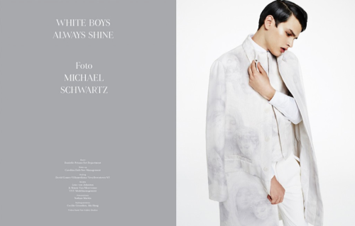 TUSH Spring-summer 2013 issue WHITE BOYS ALWAYS SHINE Photography Michael Schwartz. Styling David Gómez-Villamediana. Hair Danielle Priano at Art-Department. Make up Carolina Dalí at See Management. Simon Van Meervenne wears Givenchy SS2013 total look.