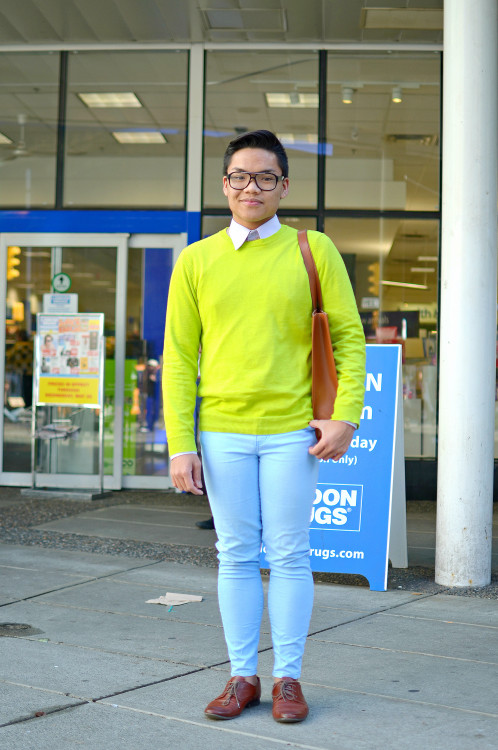 259/365 Mark. I love his combination of neon yellow and mint blue. Photographed in downtown, Vancouver.