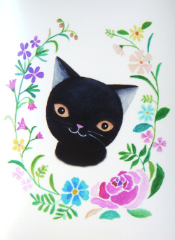 Black cat with flowers mikaart.etsy.com