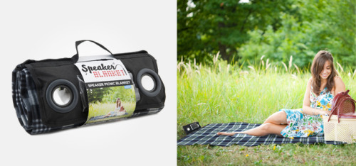 springwise:  Picnic blanket features integrated speaker system Travelers heading outdoors usually have to decide which home comforts they'll have to leave behind. However, we have seen a few innovations that conveniently combine products, such as the Springtime picnic basket that can transform into a set of tables and chairs. Our latest spotting is the Speaker Blanket, a mat that keeps picnickers off the mud while providing music to complement their outing. READ MORE…  You certainly wouldn't want to hear the ambient sounds of nature!