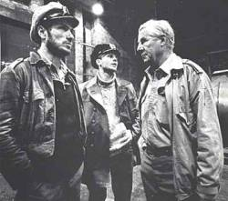jackmarlowe:  Heinrich Lehmann-Willenbrock on set of Das Boot with Jürgen Prochnow and Herbert Grönemeyer.