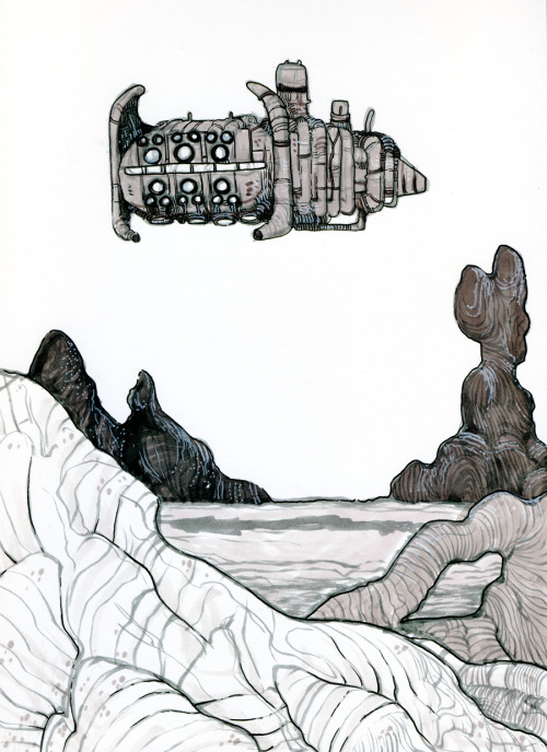 ship/landscape sketch. grey markers, brush pen, ink pen, whiteout.  Kind of like the idea compositionally, might use the idea for one of my first painting tests!