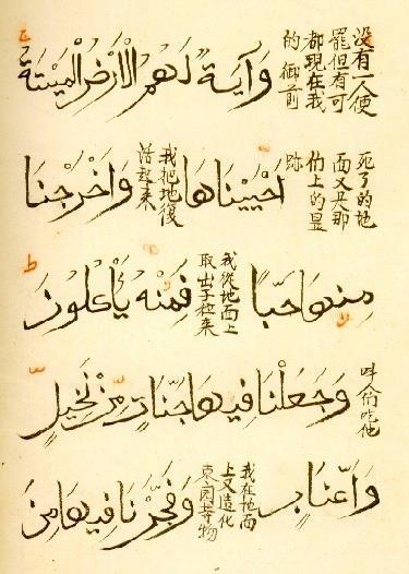 lostislamichistory:  Verses 33 and 34 of Surat Yasin in the Sini (Chinese) calligraphic script. Between the words is the translation in Chinese.