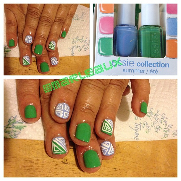 #nailart Loving Essie Mojito Madness - it really takes the attention away from that bad cuticle scab… #essie #essiemojitomadness