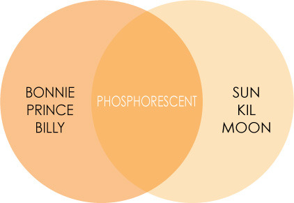 thevennreview:     PHOSPHORESCENT. If Bonnie Prince Billy and Sun Kil Moon had a baby. I am just going to come out and say it the same way a friend of mine did (who worded it so very well). I am angry at anyone that knew about Phosphorescent and did not tell me about them. It's bands like this that continue my overwelming search for good music. Just knowing that artist(s) like this can put out 5 albums before someone like me (who is constantly searching for new music) finds them/hears about them, makes me sick to my stomach. But alas, I guess it all comes around; I eventually found them. www.phosphorescentmusic.com  Click on the diagram for a sample track by the artist.