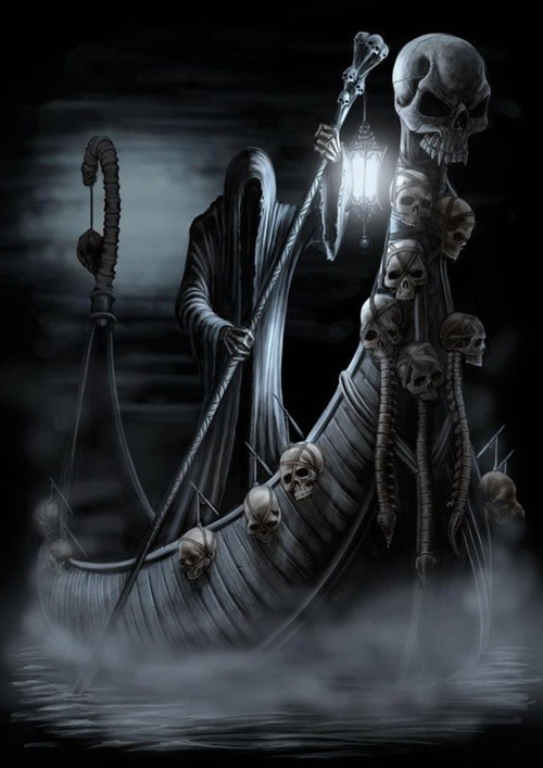 idrinkpuppyblood:  About Death/Muerte / Charon is the ferryman of Hades and carried the newly deceased across the rivers Styx and Acheron that divded the world of the living from the world of the dead. on We Heart It. http://weheartit.com/entry/56202107/via/MyOwnEulogy