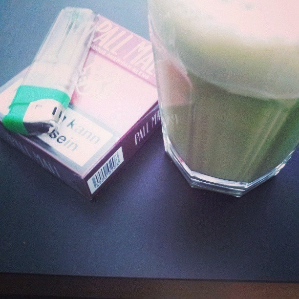 good combination! #matchalatte #home #alone