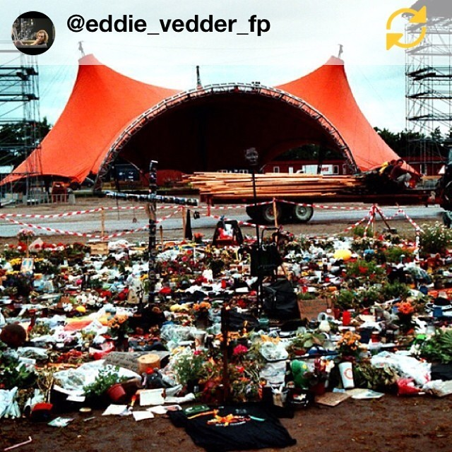#Regram @eddie_vedder_fp: 14 years ago today was a tragic day in Pearl Jam history, Pearl Jam were performing at the annual Roskilde festival