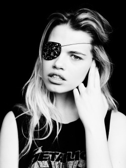Hailey Clauson wearing beaded eye patch by Heather Huey and photographed by Billy Kidd