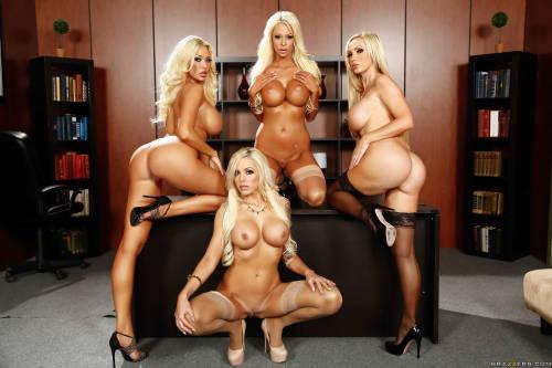 whoreloverxxx:Four hot blonde secretaries!Perfect girls&#8230.