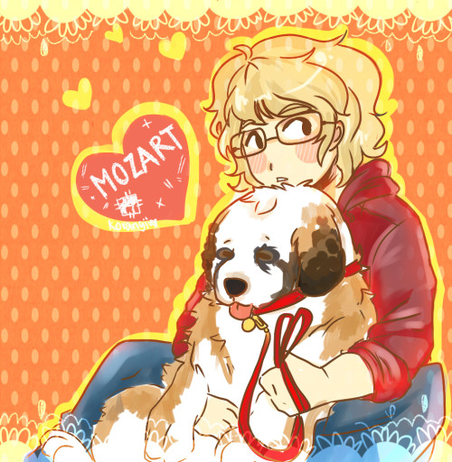 baby doodle of my oc  shiroi with his dog mozart