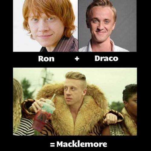Stole this from @pixyduste because its perfection. #harrypotter #macklemore #draco #ronweasley #sharkfacegang