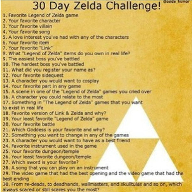 This is it! My first ever LOZ challenge!!!! Soooo dreaming excited! #legendofzelda #challenge