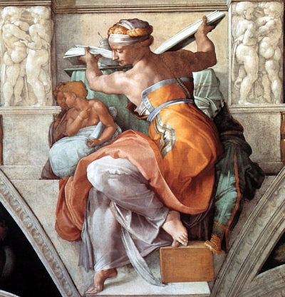 "Michelangelo  'The Libyan Sybil'  Sistine Chapel Fresco 1510 ""I am by birth half mortal, half divine;An immortal nymph was my mother, my father an eater of grain;On my mother's side of Idaean birth, but my fatherland was redMarpessus, sacred to the Mother, and the river Aidoneus"" (Pausanias 10.12.3)"