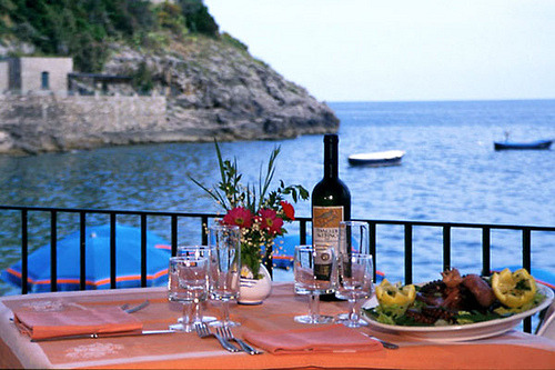 Hotel La Certosa, Nerano, Amalfi Coast, Italy, Terrace by Ithip.com Hotel Collection on Flickr.While everyone is focused on the Gatsby era, and Gld Coast manses, I would opt for something less opulent. For me- a quiet seaside retreat with postcard views. A two seater convertible packed with limoncello to sip, figs, bread, fresh prosciutto and aged Parmesan cheese.  La dolce vita- perfecta, si?