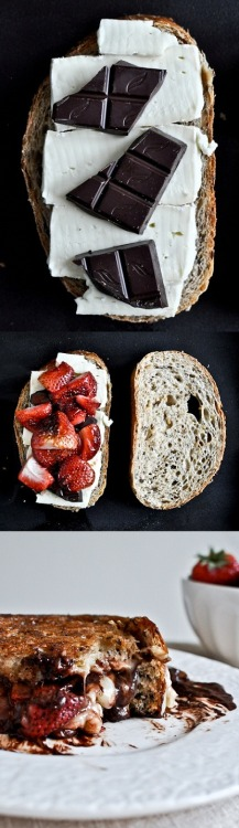 brie, dark chocolate, and strawberry grilled cheese. Yum.