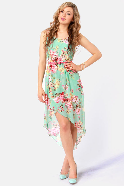 Apple Orchard Floral Print High-Low Dress Lulus.com  -$44