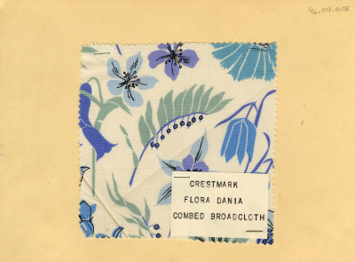 Flora Dania print on combed broad cloth. Crestmark. Mid-20th century.