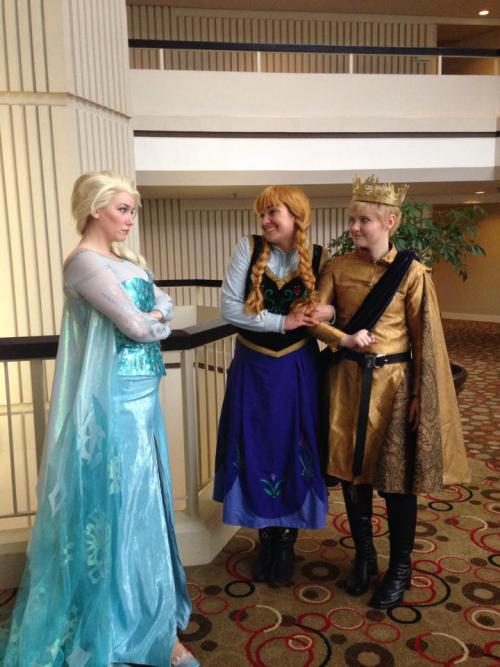 "audreyii-fic:  mjolnirismypenis:  ""Anna, you can't marry someone you just met."" Elsa: jdevoll Anna: Nina Joffrey: mjolnirismypenis Photo by: danikhaleesi  holy shit is anna about to marry joffrey"