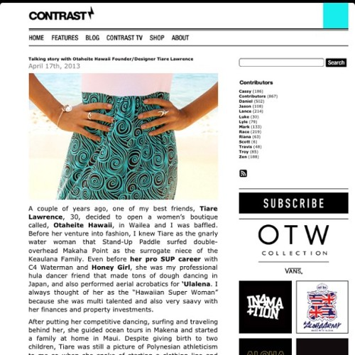 Check out Contrast Magazine's blog. We're so blessed to be featured on their amazing blog! Mahalo nui @ka_ito for the opportunity and @contrastmag for letting Otaheite Hawaii be featured in your blog