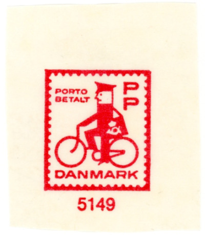 stampdesigns:  Denmark prepaid stamp: man on bike c. 1963   Not just a man on a bike; it's a postman on a bike