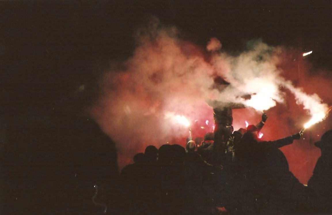 Here's a photo I took of Partizan Minsk ultras, who are a very left-wing based club from Minsk who did a tour of Germany during March. They played Tennis Borussia Berlin, Victoria Hamburg, FC Sankt Pauli, Roter Stern Leipzig & SV Babelsberg 03. This was taken when they played Babelsberg which is a team based in Potsdam who also have a very left-wing support base, coming from the large squat/punk scene in Babelsberg during the 90s.   I first learnt about Babelsberg from the excellent No Dice Magazine which had an interview with one of the ultra members from the oldest Babelsberg ultra group, Filmstadt Inferno 1999. No Dice is a magazine that covers football in Berlin at all levels. It's a really great magazine, with some great photography and illustrations along with match reports and articles about local teams. I can't recommend the magazine enough. It was an amazing experience watching the two sets of fans interact with each other, for a team like Partizan who face hostility in Belarus for their left-wing beliefs, being able to come to Germany and find solidarity with fans was fantastic. Watching Partizan ultras chanting 'Antifa! Hooligans!' then commence to have a snowball fight during half-time with the Babelsberg fans really reinstated my faith in football and football fans.    ————————- Brilliant submission right here - very much appreciated.  It speaks for itself really - and, as an aside, very glad to hear that apparently Partizan Minsk's financial problems are not as bad as they once were.  A club with incredible fans standing up for their beliefs in an often hostile environment.  Cheers for that.