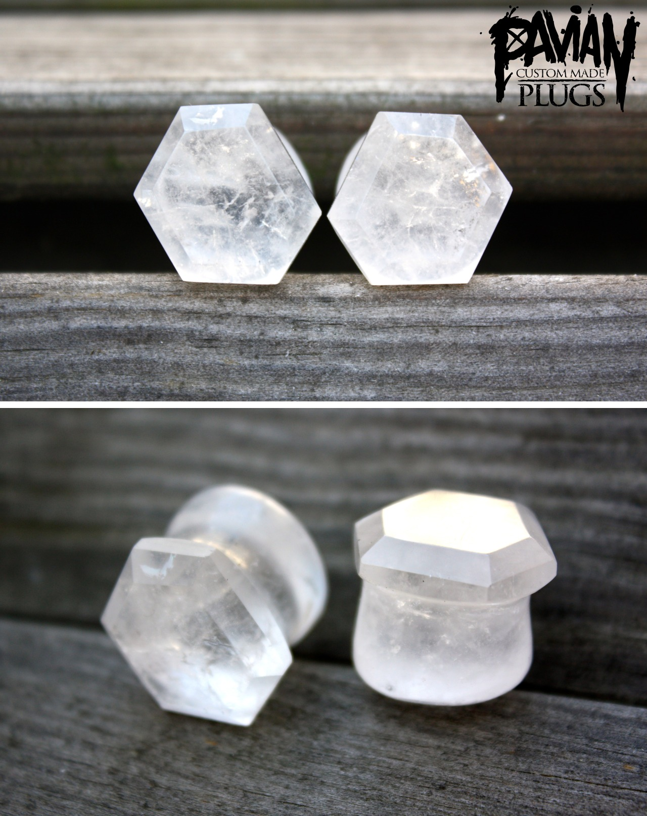 17mm quartz plugs. Freeform hexagon faceted cut. faceted by hand.