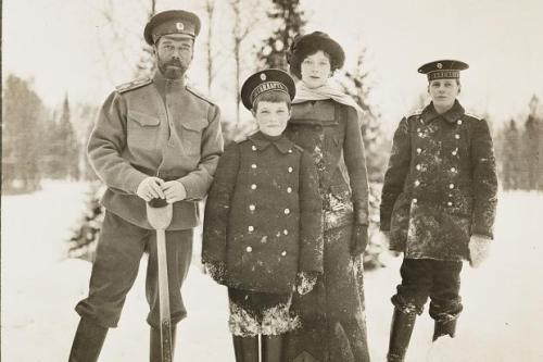 collectivehistory:  Tsar Nicholas II, son Alexei, Grand Duchess Tatiana Nikolaevna and Prince Nikita Alexandrovitch, in 1916.