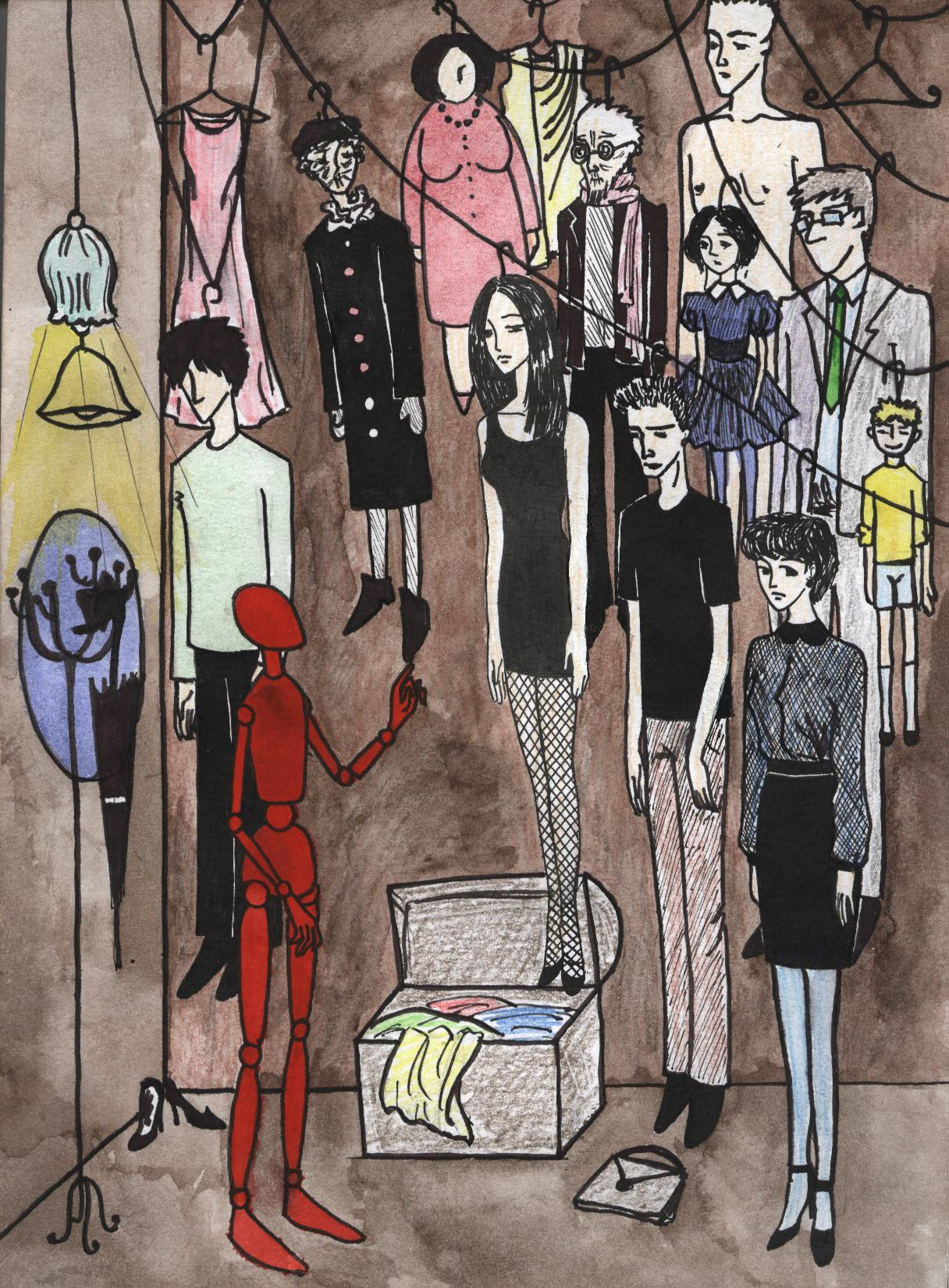 "hitrecord:  ""Actor's clothes"" Illustration by Lea Daniel"